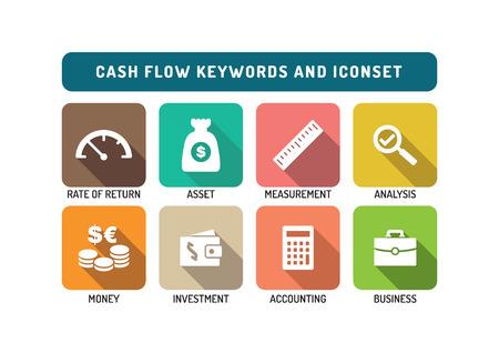 Cash Flow Flat Icon Set