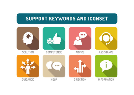 Support Flat Icon Set