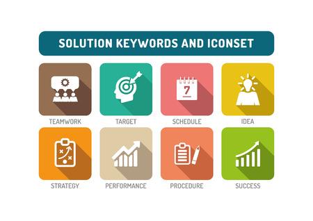 Solution Flat Icon Set Stock Illustratie