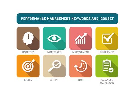 operational: Performance Management Flat Icon Set Illustration