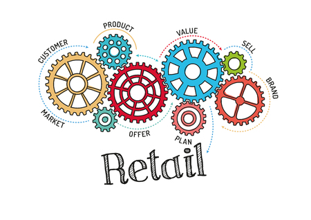 retail: Gears and Retail Mechanism Illustration