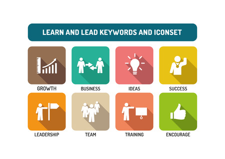 career coach: Learn and Lead Flat Icon Set Illustration