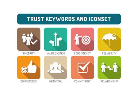 belief systems: Trust Flat Icon Set Illustration