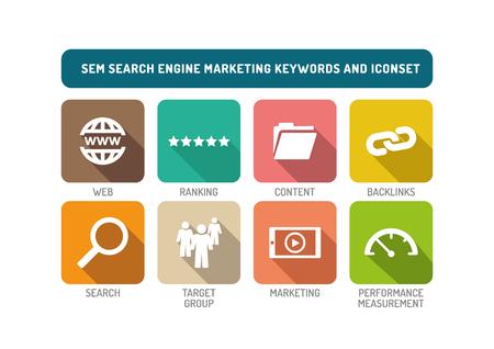 SEM Search Engine Marketing Flat Icon Set Illustration