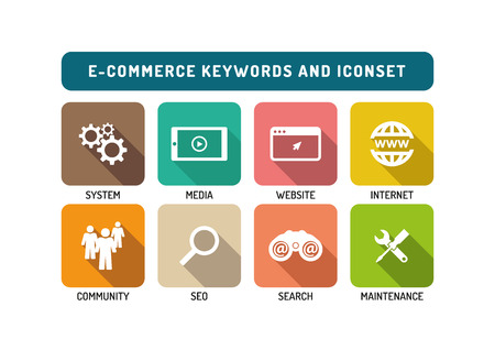 consumer society: E-Commerce Flat Icon Set Illustration