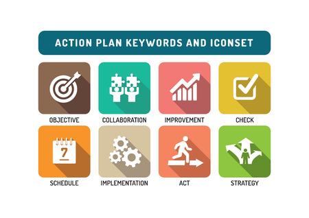 Plan de Acción plana Icon Set