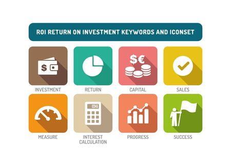 stock market return: ROI Return on Investment Flat Icon Set