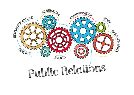 Gears and Public Relations Mechanism Illustration