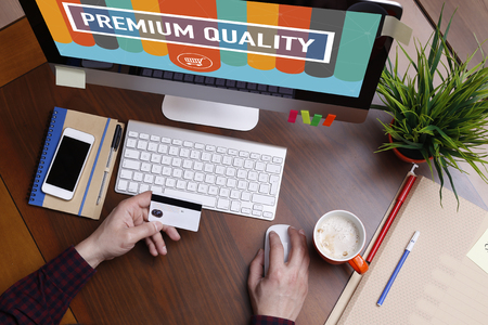 computer services: Shopping Concept PREMIUM QUALITY text on screen Stock Photo