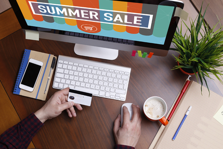 gift spending: Shopping Concept SUMMER SALE text on screen