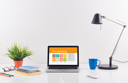 web marketing: Business desk concept - Web Marketing Stock Photo