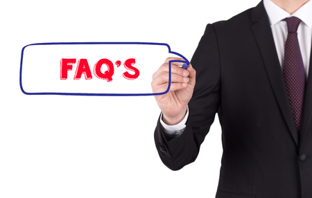 faqs: FAQS diagram hand drawn on white board Stock Photo