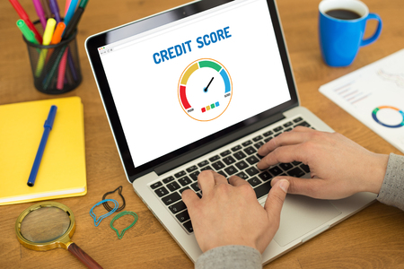 credit report: Computer with credit score application on a screen Stock Photo