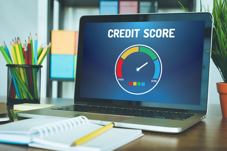 fico: Computer with credit score application on a screen Stock Photo