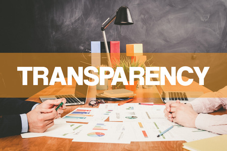 explicit: Two Businessman Transparency working in an office Stock Photo