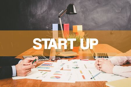 businessteamwork: Two Businessman Start Up working in an office