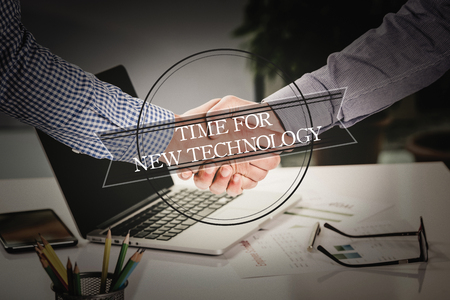 technology agreement: BUSINESS AGREEMENT PARTNERSHIP Time For New Technology COMMUNICATION CONCEPT Stock Photo