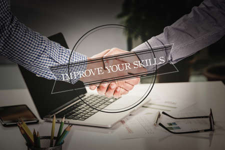 interpersonal: BUSINESS AGREEMENT PARTNERSHIP Improve Your Skills COMMUNICATION CONCEPT Stock Photo