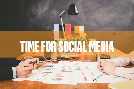 textcloud: Two Businessman  Time For Social Media working in an office