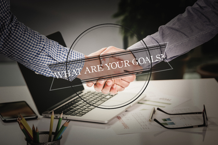 accomplishing: BUSINESS AGREEMENT PARTNERSHIP What Are Your Goals? COMMUNICATION CONCEPT Stock Photo