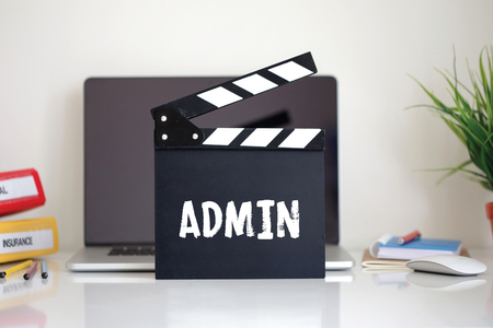 ADMIN: Cinema Clapper with Admin word Stock Photo
