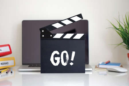 clapper: Cinema Clapper with Go! word Stock Photo