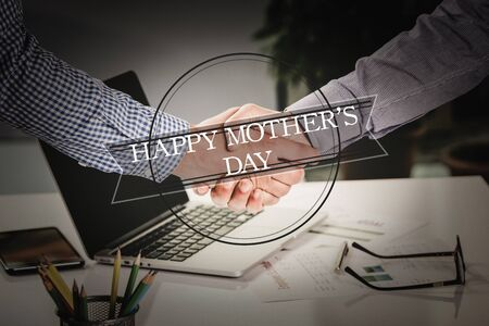 mothersday: BUSINESS AGREEMENT PARTNERSHIP Happy Mothers Day COMMUNICATION WORD CONCEPT Stock Photo