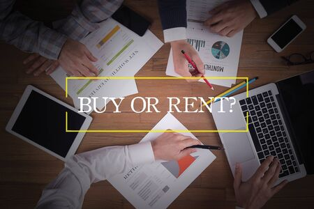 buying questions: BUSINESS TEAM WORKING OFFICE  Buy Or Rent? TEAMWORK BRAINSTORMING EDUCATION CONCEPT
