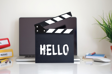 english ethnicity: Cinema Clapper with Hello word