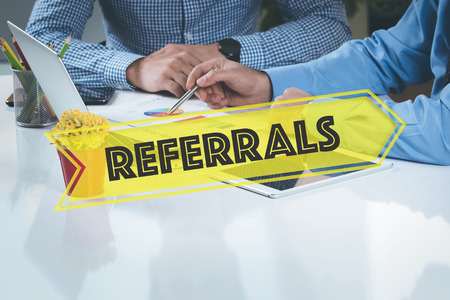 referrals: BUSINESS WORKING OFFICE Referrals TEAMWORK BRAINSTORMING TECHNOLOGY CONCEPT