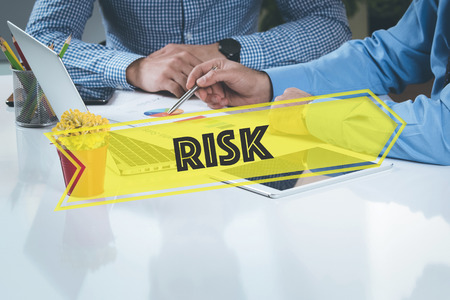 risky situation: BUSINESS WORKING OFFICE Risk TEAMWORK BRAINSTORMING CONCEPT Stock Photo
