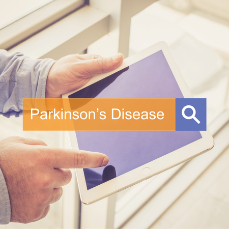 parkinson's disease: SEARCHING TECHNOLOGY HEALTH Parkinsons Disease COMMUNICATION CONCEPT Stock Photo