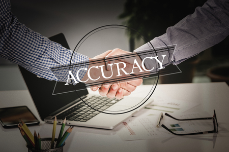 accuracy: BUSINESS AGREEMENT PARTNERSHIP Accuracy COMMUNICATION CONCEPT Stock Photo
