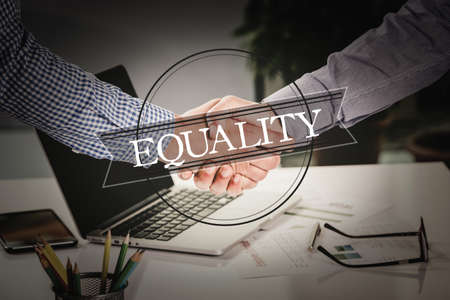 equality: BUSINESS AGREEMENT PARTNERSHIP Equality COMMUNICATION CONCEPT Stock Photo