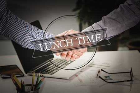 breakout: BUSINESS AGREEMENT PARTNERSHIP Lunch Time COMMUNICATION CONCEPT Stock Photo