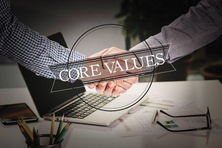 representations: BUSINESS AGREEMENT PARTNERSHIP Core Values COMMUNICATION CONCEPT Stock Photo