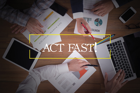 expiring: BUSINESS TEAM WORKING OFFICE  Act Fast! TEAMWORK BRAINSTORMING CONCEPT