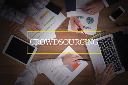 crowd source: BUSINESS TEAM WORKING OFFICE  Crowdsourcing TEAMWORK BRAINSTORMING CONCEPT