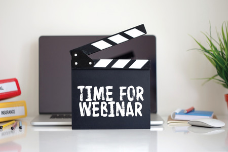 clapper: Cinema Clapper with Time For Webinar word