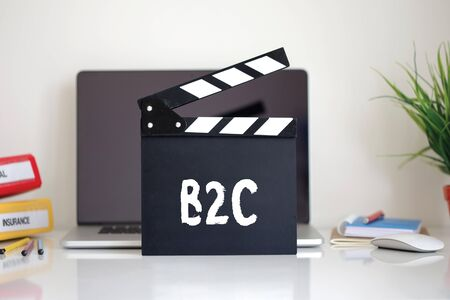 b2c: Cinema Clapper with B2C word Stock Photo