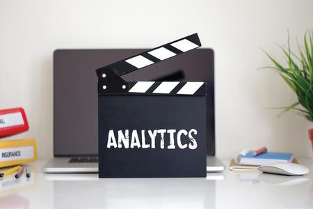 clapper: Cinema Clapper with Analytics word Stock Photo