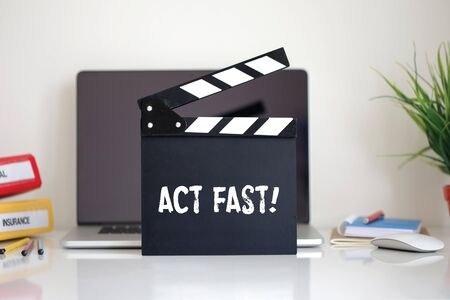 expiring: Cinema Clapper with Act Fast! word