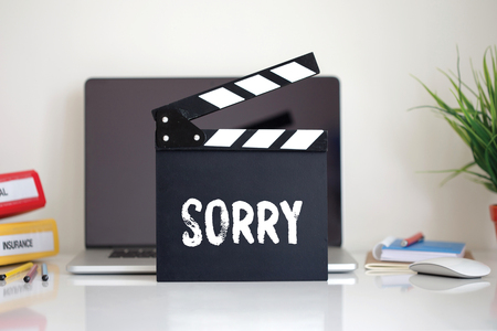 bad pardon: Cinema Clapper with Sorry word