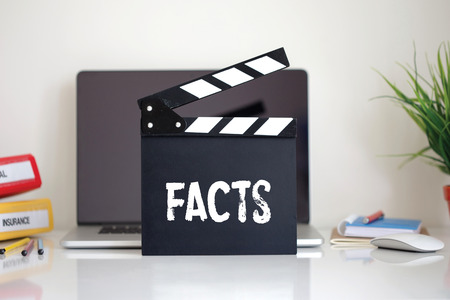 uprightness: Cinema Clapper with Facts word
