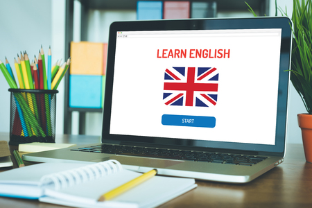 LEARN ENGLISH ONLINE EDUCATION LANGUAGE SCHOOL CONCEPT Stock Photo