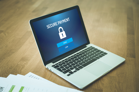 secure payment: SECURE PAYMENT TECHNOLOGY E-COMMERCE ONLINE CONCEPT Stock Photo