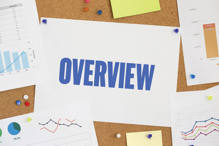 an overview: CHART BUSINESS GRAPH RESULT COMPANY OVERVIEW CONCEPT Stock Photo