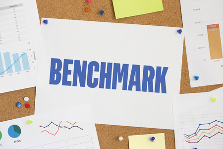 benchmark: CHART BUSINESS GRAPH RESULT COMPANY BENCHMARK CONCEPT Stock Photo