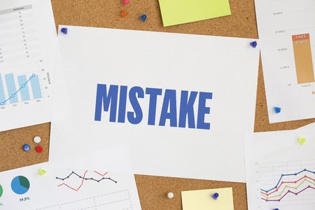 mistake: CHART BUSINESS GRAPH RESULT COMPANY MISTAKE CONCEPT Stock Photo