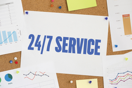 24x7: CHART BUSINESS GRAPH RESULT COMPANY 247 SERVICE CONCEPT Stock Photo